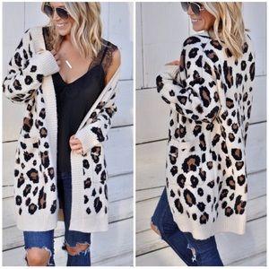 Leopard Animal Print Long Cardigan w/ Pockets